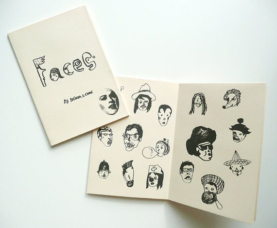 Faces is a single color silk-screen printed zine covered a selection of hand doodle and collage party faces, quirky people, fashionable and funny ones