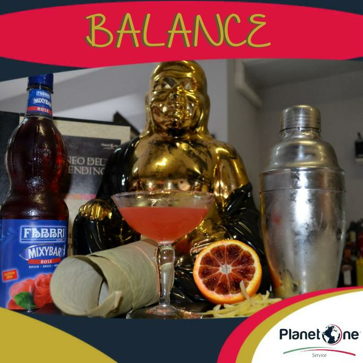 "Cocktail Alcolico ""Balance""  Ingredienti: 1/2 oz Fabbri  MixyBar Rose 3/4 oz maraschino 3/4 oz Cacacha 1 oz Spremuta Arancia 1/2 oz limone spremuto o succo di limone Per la ricetta completa visita: http://www.planetone.it/balance/"