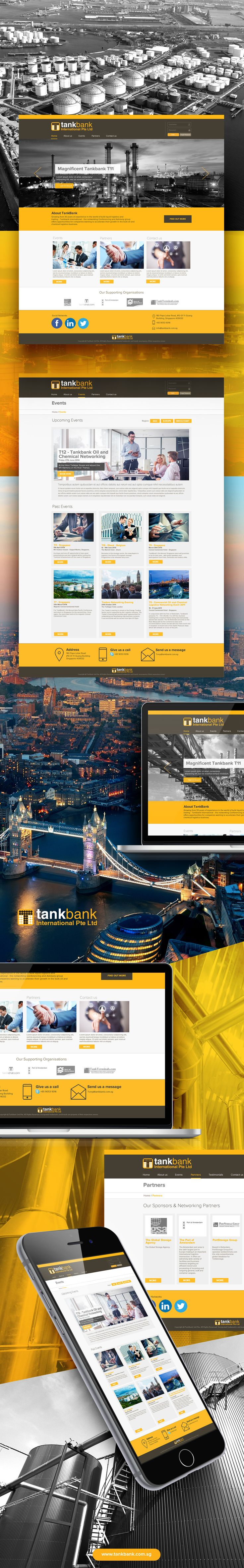 TankBank international website design Growing from over 40 years of experience in the world of bulk liquid logistics and trading – Tankbank International – the networking Conferencing and Advisory group offers opportunities for companies wanting to accelerate their growth in the bulk oil and chemical logistics business.  #website #web #oil #business #tankbank #yellow #brown #networking #oilgas #chemical #conference #sg #singapore