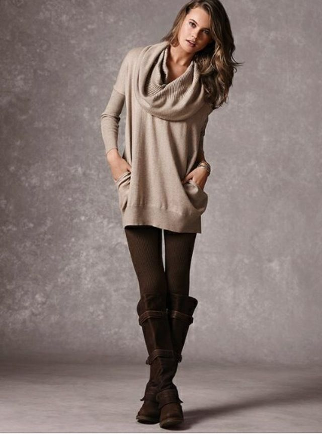 Shop this look on Lookastic:  http://lookastic.com/women/looks/beige-cowl-neck-sweater-dark-brown-leggings-dark-brown-suede-knee-high-boots/5551  — Beige Cowl-neck Sweater  — Dark Brown Leggings  — Dark Brown Suede Knee High Boots