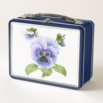 Pansy Nosegay Metal Lunch Box - purple floral style gifts flower flowers diy customize unique