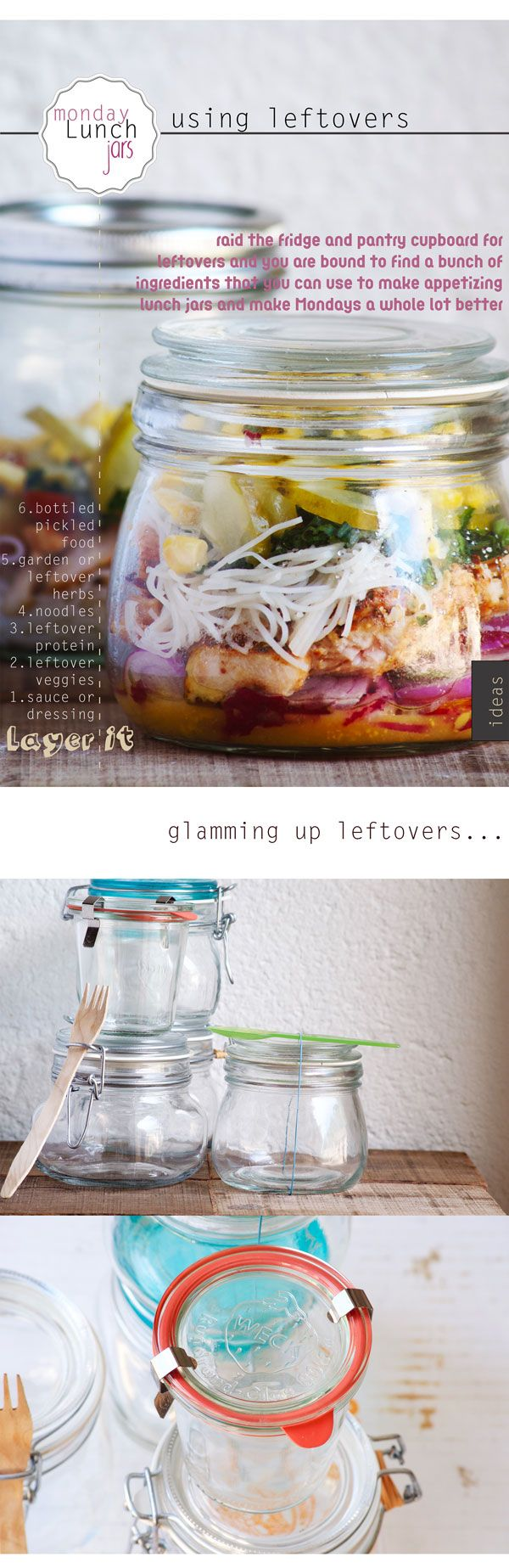 A glammed up lunch jar for Monday using leftovers #mondayinspiration