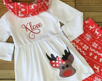 Baby Girl Christmas Outfit, Monogram, Aztec Reindeer,  Toddler Girl Outfit Boutique Outfit Kids Clothing Cute Girl Holiday Clothes