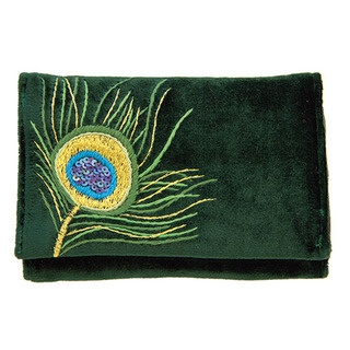 This Day Wallet is lavishly embellished with the rich, decadent hand embroidered and sequinned Peacock design.