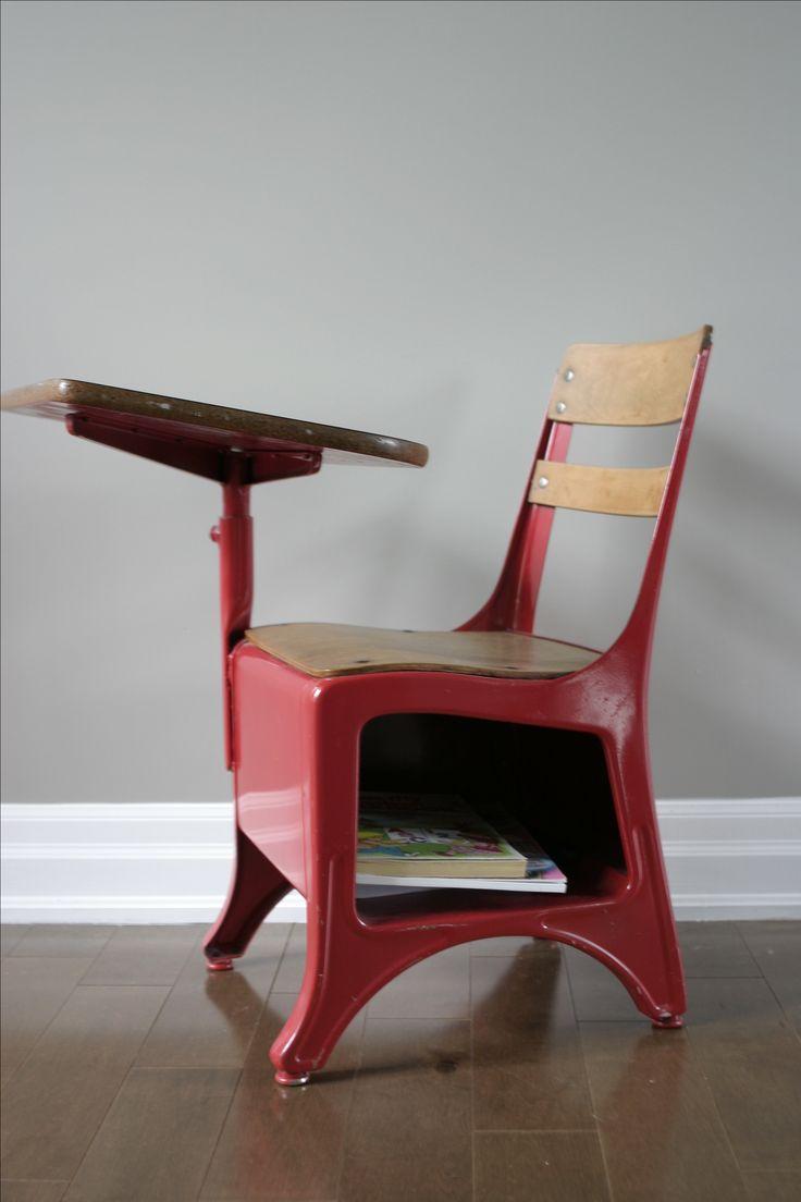 vintage school desk chair spray painted apple red amazing vintage desks