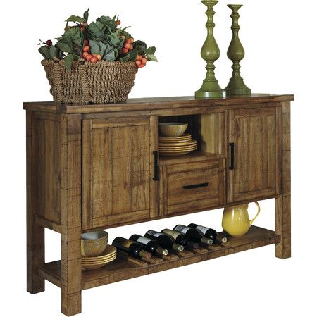 Organize All Your Dining Room Essentials With This Traditional Sideboard Featuring A Lower Wine Rack