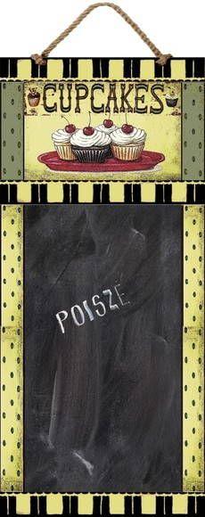 """Placas Vintage Decoradas com Quadro Negro para escrever com giz. Para decoração na Cozinha ou qualquer outro ambiente. Ideal para lembrar compromissos, agendar tarefas, lista de compras, menus, telefones, etc.  Tema - """"Cupcakes"""""""