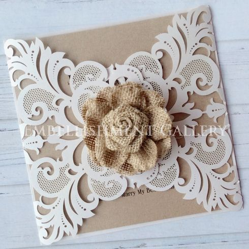 Burlap Flower and Laser Cut Card by Embellishment Gallery® AUSTRALIA