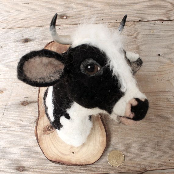 needlefelted mid seize cow head style faux taxidermy by fauxfauna, $152.00