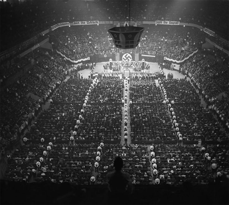 More than twenty thousand attend a meeting of the German American Bund which included banners such as Stop Jewish Domination of Christian Americans. Madison Square Garden 1939. [990x885]