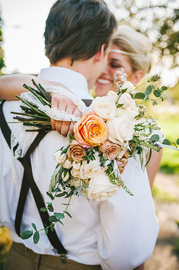 Stunning Foraged Peach and Ivory Bouquet with Lace | Nhiya Kaye Photography | Minimalist Elegance with Country Chic Details