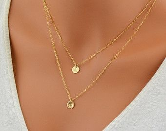 Check out Personalized Layering Necklace Set, Initial Disc Necklace, Mother Necklace, Delicate Gold or Silver Necklace, Grandma Necklace on malizbijoux