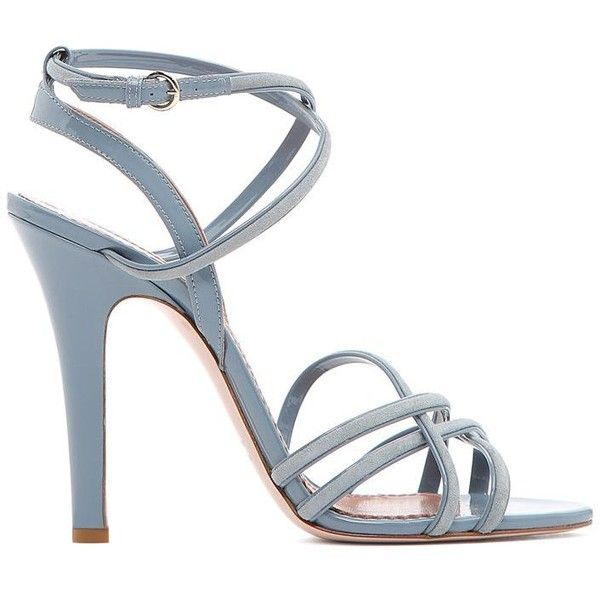 REDValentino Strappy Sandal (1.400 BRL) ❤ liked on Polyvore featuring shoes, sandals, light grey, patent leather sandals, strappy shoes, leather sole shoes, patent shoes and strap shoes