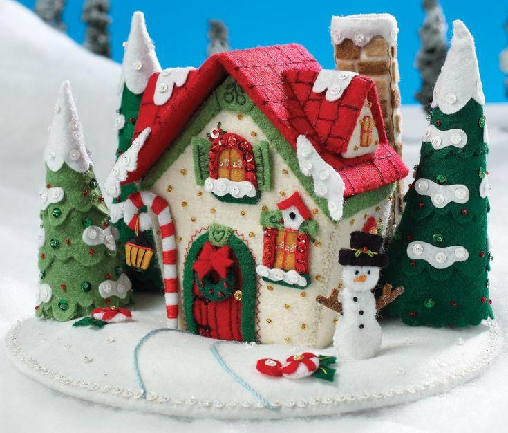 Snow cottage felt centerpiece....how cute!!!!!