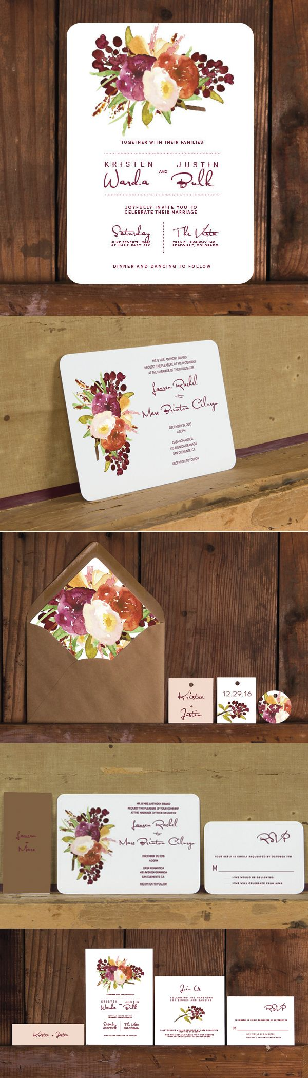 Love the deep reds and blush colors on this rustic wedding invitation.  The big question is which layout do you like best?