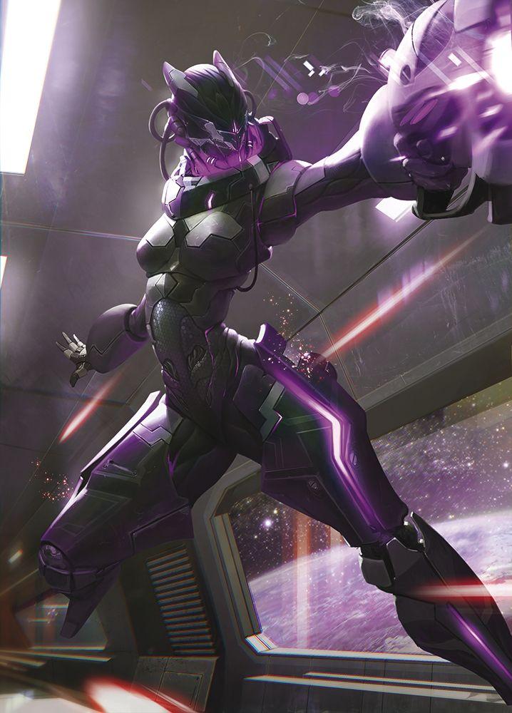 Black/Purple Bioluminescent Female Mecha