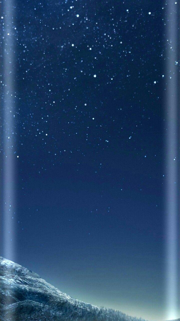 Winter night sky moon stars
