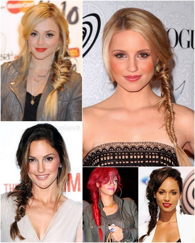 celebs rocking the side fishtail braid- love this is back in style