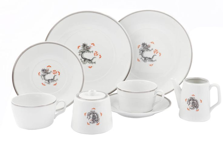 "Coffee set, Shape ""MEISSEN® COSMOPOLITAN"", Ming dragon, without edge, black, platinum and black thread"
