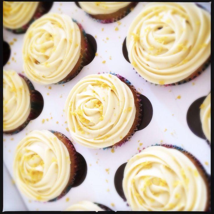 Lemon cupcakes with white chocolate ganache