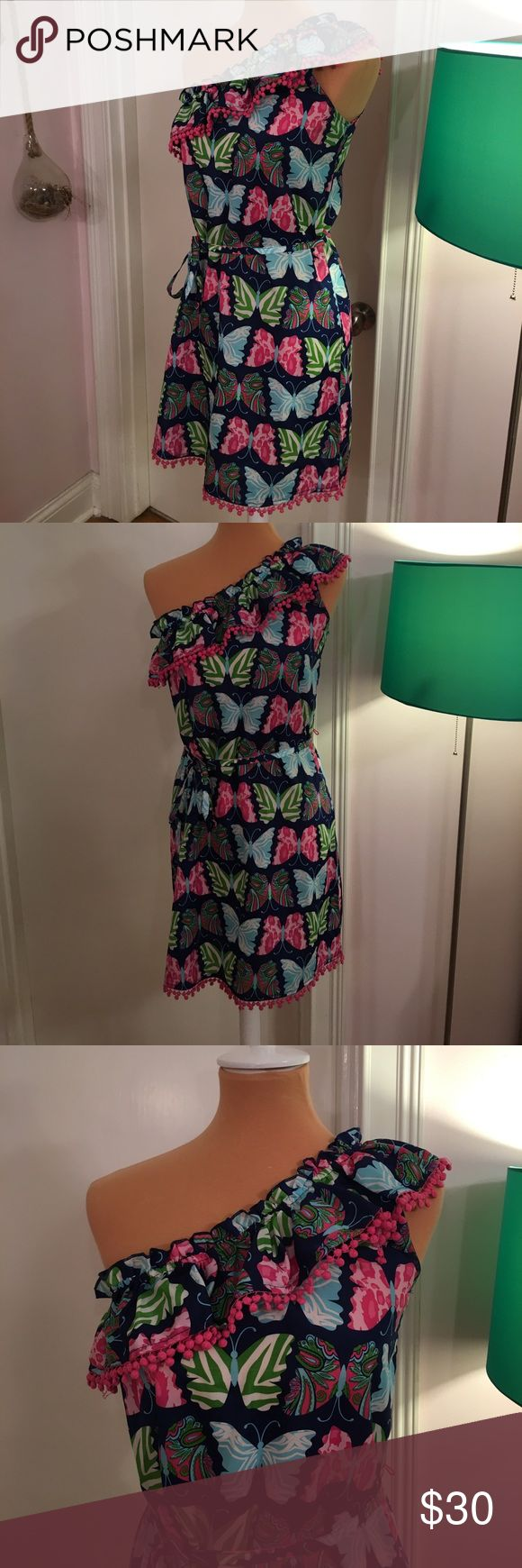 Mud Pie Butterfly One Shoulder Dress In great pre-owned condition. No rips, stains, or pilling. No trades or try ons. Smoke free, dog friendly home. Reasonable offers only. Please specify measurements if you would like them. Shipping prices are firm. Mud Pie Dresses Mini