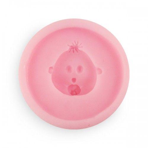 Siliconen mal babyhoofdje met speen. Leuk voor een babyshower of geboorte!