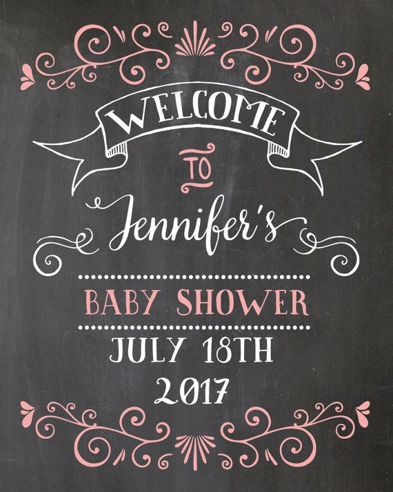 Welcome Baby Shower Sign. Chalkboard Welcome sign. Printable