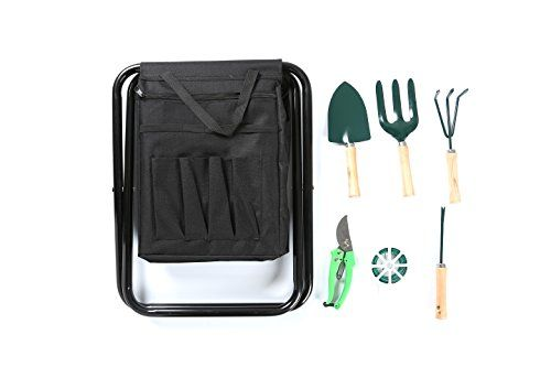 Gardening Set With 6 Tools And Seat By Trademark Innovations Black *** Find  Out More About The Great Product At The Image Link.