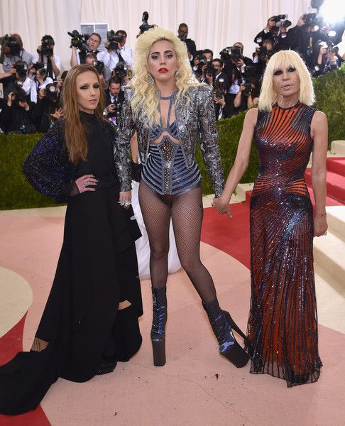 "(L-R) Allegra Versace Beck, Lady Gaga, and Donatella Versace attend the ""Manus x Machina: Fashion In An Age Of Technology"" Costume Institute Gala at Metropolitan Museum of Art on May 2, 2016 in New York City."