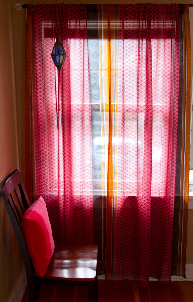 Sari Curtains Two Sheer Curtain Panels Pink And Orange Sari Curtain Panels Pink Curtains