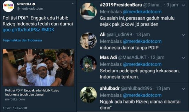 Politisi PDIP: Enggak ada Habib Rizieq Indonesia damai, Begini Komentar Menohok Netizen