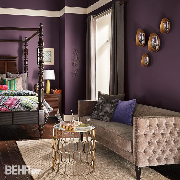 Deep Dreams: Dark colors will transform a #bedroom into a dreamy, mythical landscape. Layers of color and texture are found in the bedding, bringing bright pops of color for volume and interest. #2015ColorTrends #BehrPaint Featured Color: Your Majesty T15-4