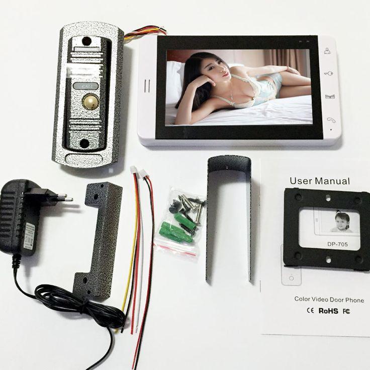 7 Pulgadas de video teléfono de la puerta del Monitor LCD Key Touch de Vídeo Portero Automático Cmos Versión de La Noche Cámara de vídeo del sistema de intercomunicación