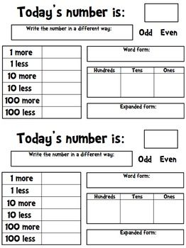 This is a one page document that can be used as part of a math journal. Teachers can choose a different number each day (or use the number of d... brilliant-math-ideas