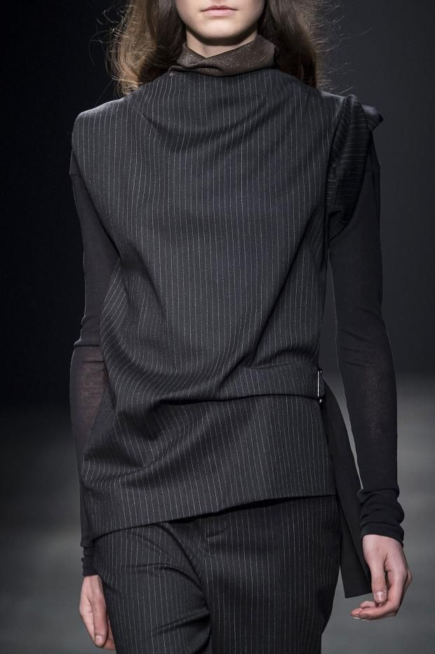 Black pinstripe trousers & draped top, chic tailored fashion details // Ter Et Bantine Fall 2015