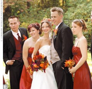 Rebecca's maid of honor wore a strapless A-line cinnamon-color satin ball gown, and her two bridesmaids wore shimmer ruched empire dresses with spaghetti straps and wraps. Mike's two groomsmen wore three-button notch-collar tuxedos with cinnamon herringbone vests from After Hours Formalwear.