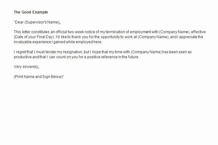 2 Weeks Notice Letter Format Awesome Two Weeks Notice Letter How To Write Guide Resignation In 2020 Lettering Two Weeks Notice Resignation Letter