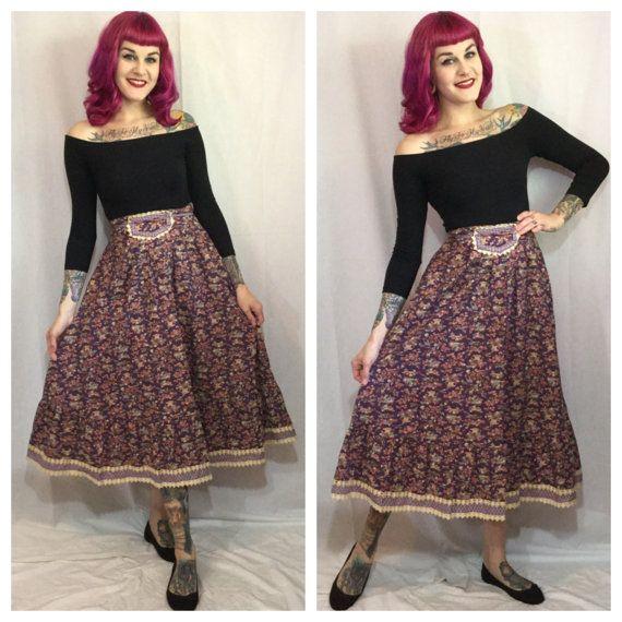 Vintage 1970's Novelty Print a skirt by by GypsyGothVintage