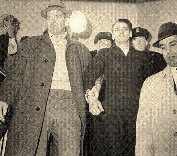 Police escorting Albert DeSalvo aka The Boston Strangler after his capture in a West Lynn uniform store. (via Charles Zapolski)
