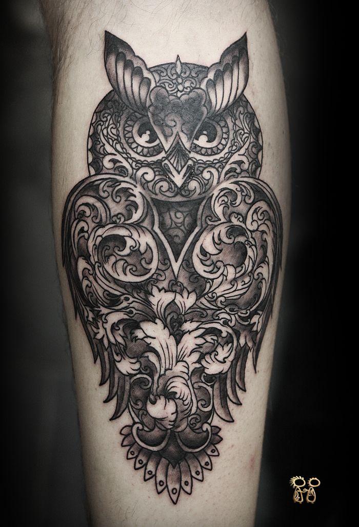 Unique Dotwork Owl Tattoo Design For Leg Calf