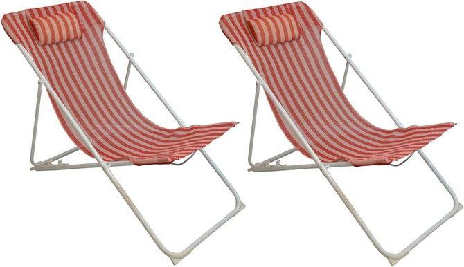 Pack Of 2 Harbour Housewares Metal Garden Deck Chair 3 Positions