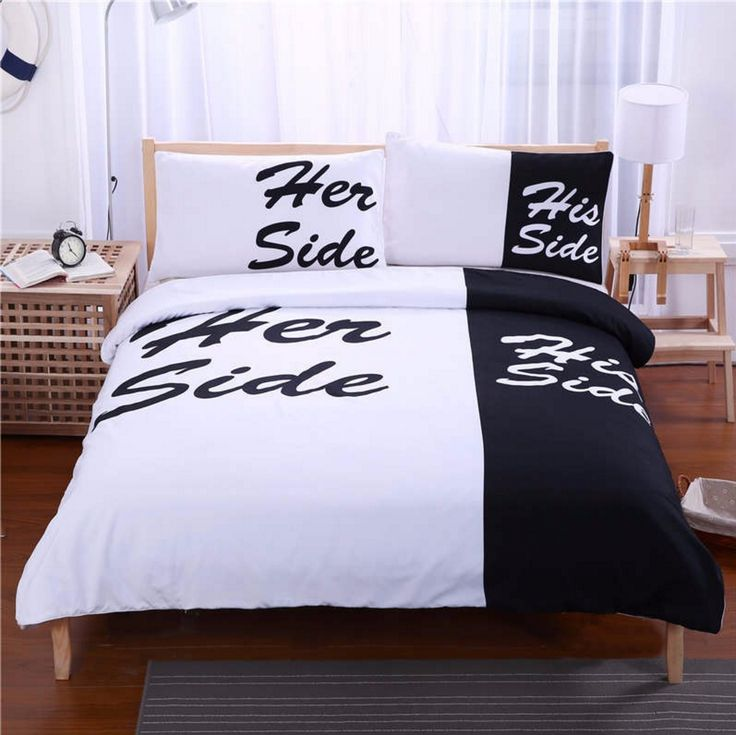 Queen size His and Hers bedding set (4pcs) includes: - 1x Duvet Cover: 220x230cm (87x91inches) - 1x Flat Sheet: 250x250cm (98x98inches) - 2x Pillowcase: 48x74cm (19x30inches) King size His and Hers be