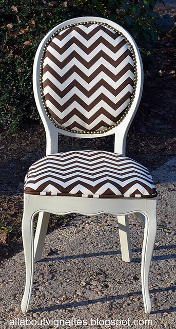 Like The Recovered Chair In Chevron Design Fabric