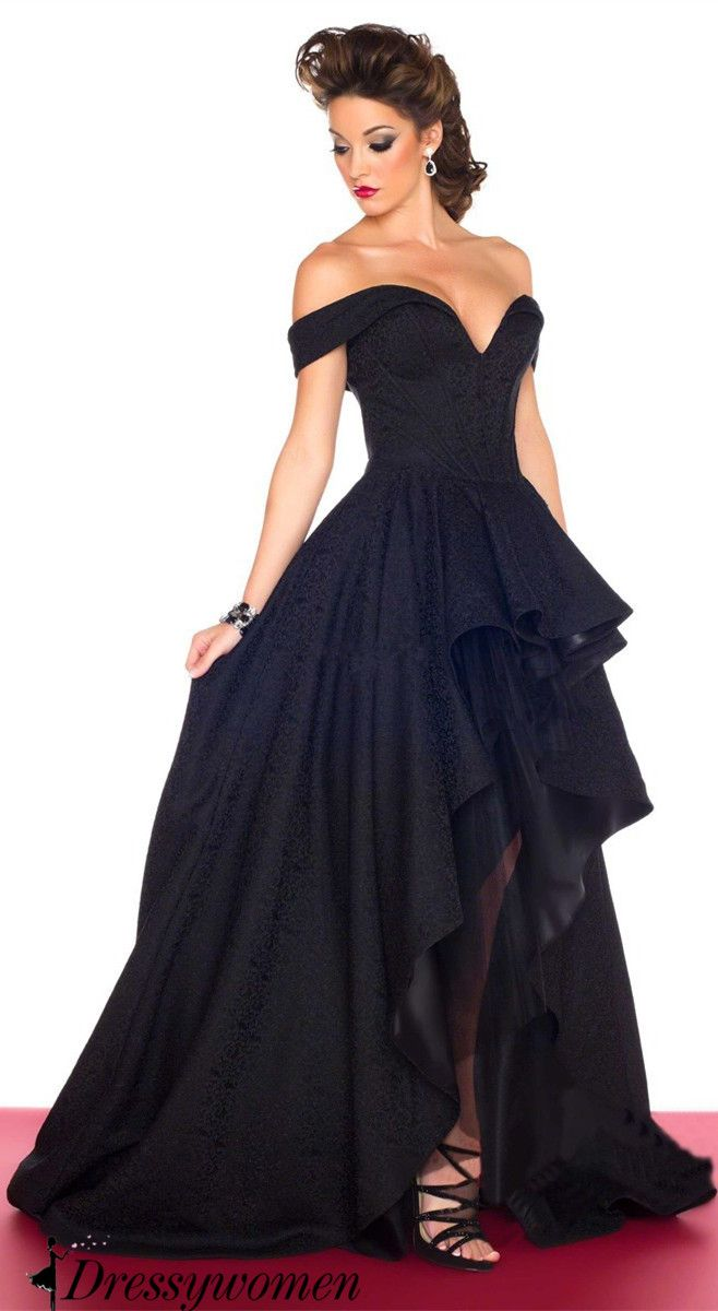 black prom dress 2016, off the shoulder long prom dresses, high low prom dress, evening dress