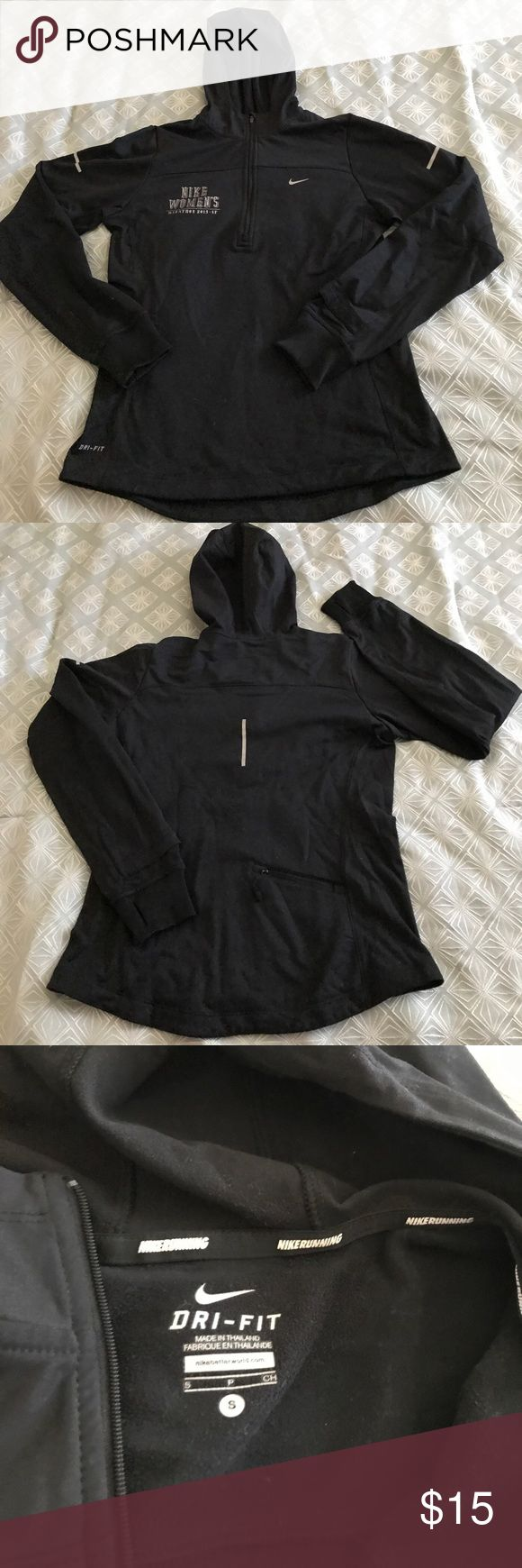 Nike women's marathon '13 SF half zip hoodie Excellent used condition. Black with reflective detail. Zipper, thumb holes, and back pocket intact. Lightweight but very warm. Dri-fit with light fleece lining. Nike Tops Sweatshirts & Hoodies