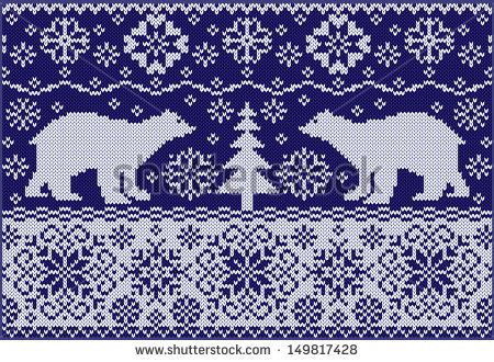 Knitted ornament with bears. Fashionable northern pattern. Knitted style. Creative illustration with winter bears. - stock vector