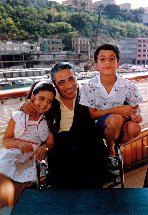 Aristotle Socrates Onassis, Greek shipping tycoon (1906-1975), with his children, Christina and Alexander. Born in Smyrna before the Turks invaded.