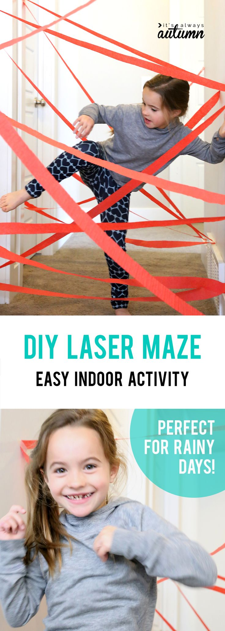 Make a hallway laser maze! Easy, inexpensive indoor activity for kids that's super fun! Perfect for kids who love playing superhero or spy - and fun for birthday parties, too.