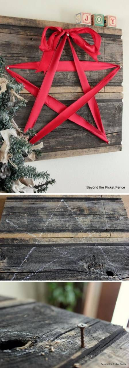 DIY Rustic Christmas Star Decoration With Red Ribbon and Recycled Wood Grab some recycled wood from the garage and a bit of red ribbon, and you're ready to create a fun and simple Christmas decoration. Nail the wood together as a backboard and use the ribbon to create a star. Add five nails as points …