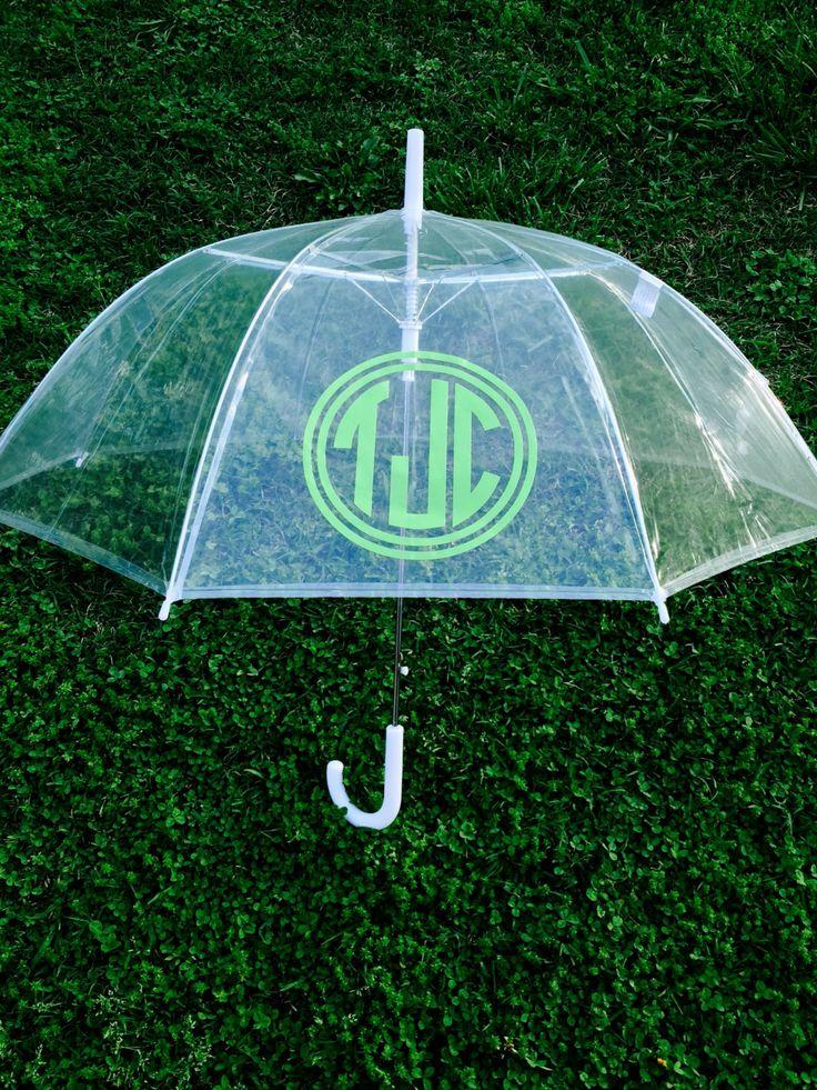 Monogrammed Umbrella Personalized Umbrella Clear Dome Umbrella Personalized Gift Bride Bridesmaid Shower Gift Wedding Gift (22.00 USD) by customvinylbydesign